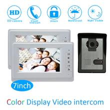 цена на New Smart home Control 7 inch Display 1 to 2 Door Bell Wired Video Door Phone System HD waterproof camera Night version house