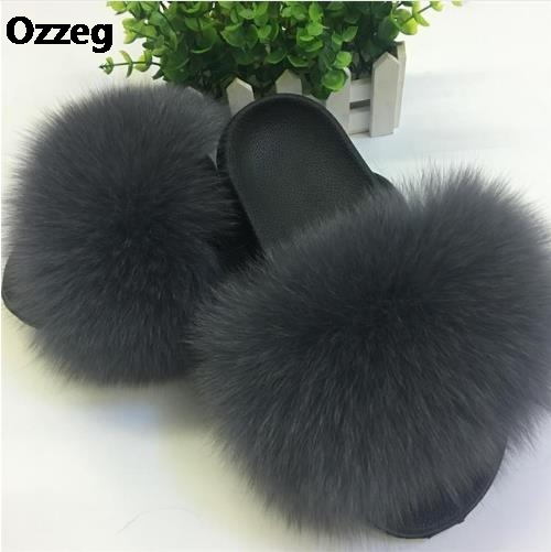 25 colors Fox Hair Slippers Women Fur Home Fluffy Sliders Plush Furry Summer Flats Sweet Ladies Shoes Size 45 Cute Pantufas