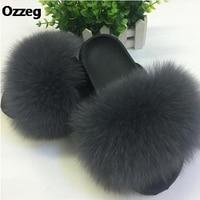 25 Colors Fox Hair Slippers Women Fur Home Fluffy Sliders Plush Furry Summer Flats Sweet Ladies