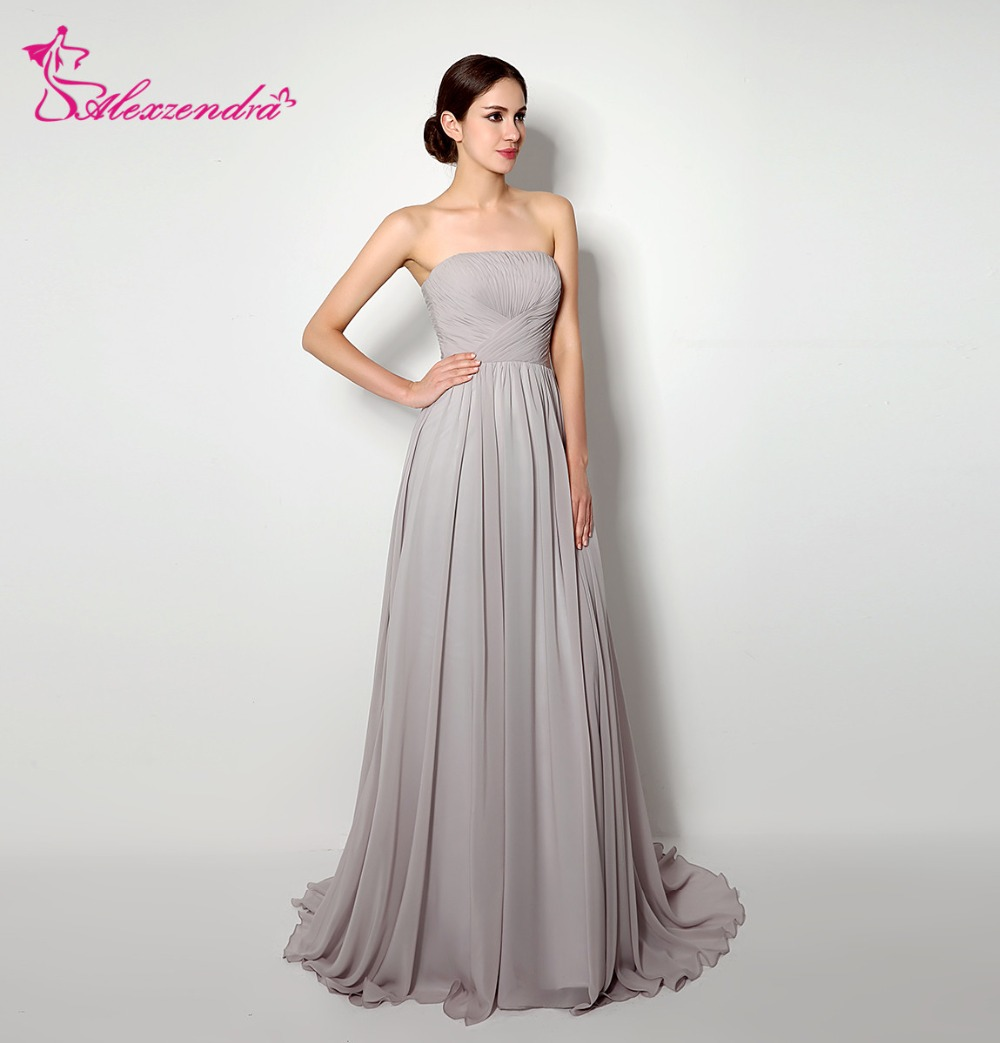 Alexzendra Strapless A Line Chiffon Long Silver Bridesmaid Dress for ...