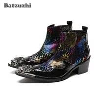 Batzuzhi/100% мужские кожаные ботильоны ручной работы с металлическим наконечником в стиле панк, мужские ботинки с острым носком, botas Militares, Каблук