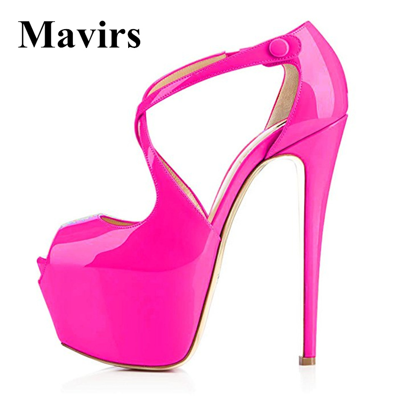MAVIRS 2017 Summer Peep Toe Ankle Strap Cross-Strap Sexy Extreme High Heels Platform Sandals Stiletto Shoes Women Pump Footwear women peep toe ankle strap platform high heel sandals summer sexy fashion ladies heeled footwear heels shoes size 34 39 p16703