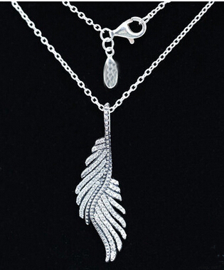 925 Sterling silver Compatible european Jewelry necklace 925 sterling silver Phoenix feather pendant with Chain necklaces cz