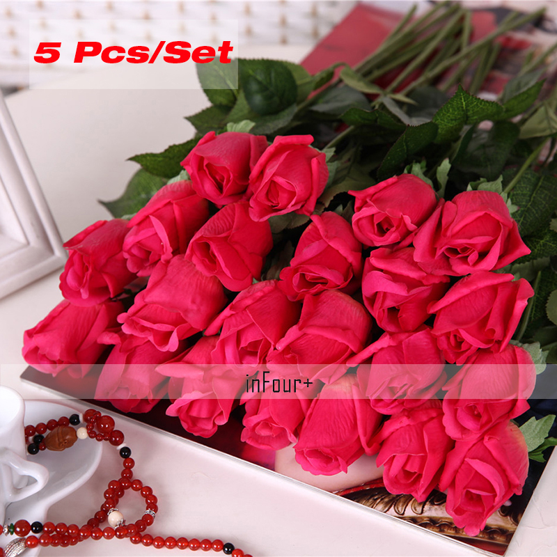 5pcs rose vintage home decor flower real touch rose silk flowers 5pcs rose vintage home decor flower real touch rose silk flowers latex artificial flowers for wedding decoration fake flowers mightylinksfo