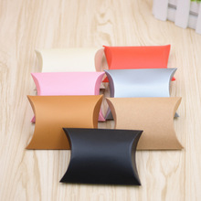 50pcs/lot New Pure Pillow Box Ribbon Bow Present Carton Pouch Kraft Paper Bag Gift Boxes Wedding Party Supply Customize