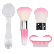 1pcs Plastic Professional Nail Art Dust Cleaning Brush with Cap Round Head Make Up Washing Manicure Pedicure Tools