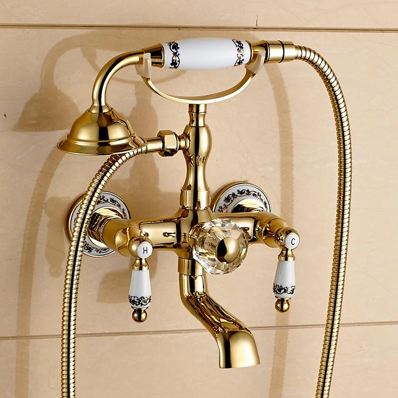 Shower Faucet Brass Polished Golden Bathtub Faucets Hand Rain Shower Head Tap Luxury Ceramic Telephone Wall Bath FauceShower Faucet Brass Polished Golden Bathtub Faucets Hand Rain Shower Head Tap Luxury Ceramic Telephone Wall Bath Fauce