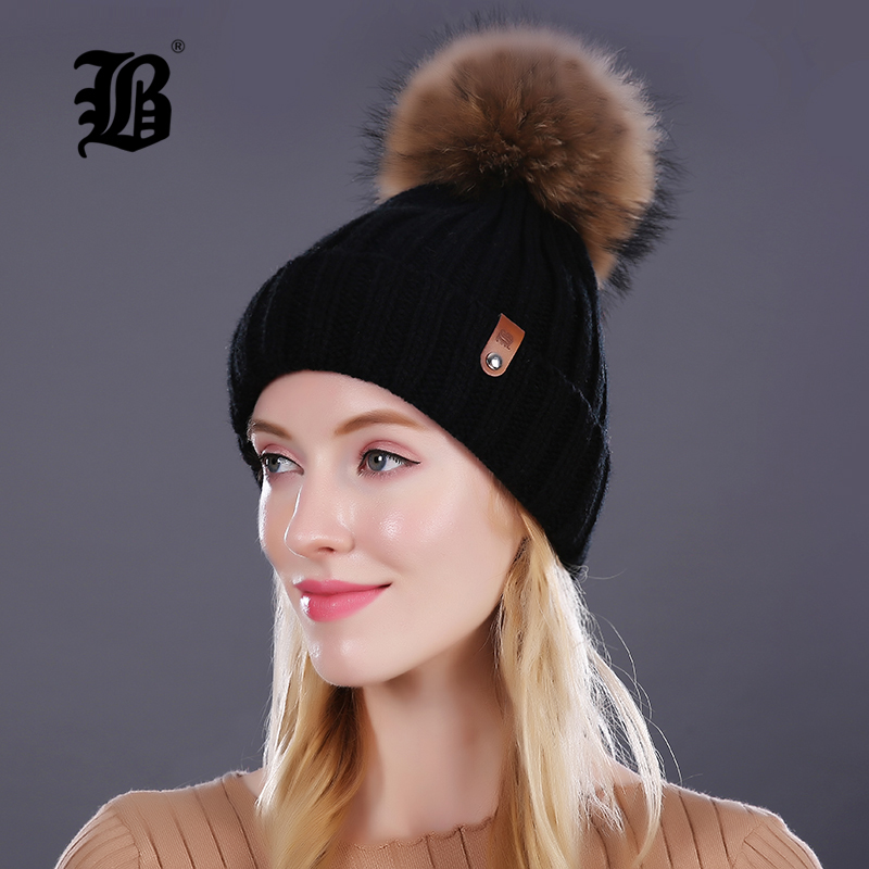 [Flb] الجملة ريال فرو المنك بومس بوم محبوك قبعة الكرة بيني الشتاء قبعة للنساء الفتاة الصوف قبعة القطن skullies الإناث كاب