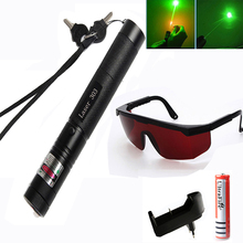 Tactical High Power Green Laser Pointer Adjustable Focus Burning match laser Pen 303 5mw 532nm +18650 Battery+Charger цена 2017