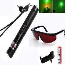 цена на Tactical High Power Green Laser Pointer Adjustable Focus Burning match laser Pen 303 5mw 532nm +18650 Battery+Charger