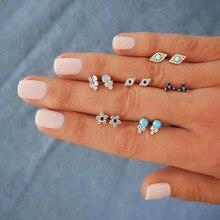 Doreen Box Color Eye Flower Clear Rhinestone Ear Post Stud Bohemia Earrings Set Silver Women Party Club Jewelry ,1Set