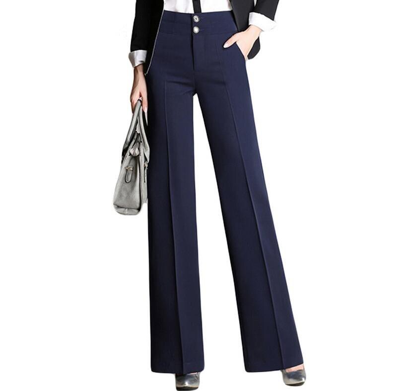 Fashion Lady Wide Leg Pants Black Size S-4XL Top Design Elegant Office Women Work Trouser