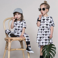Baby Girls Casual Dresses Summer 5 Years Old Girl Dress Boutique Party Dresses With Bear Cartoon
