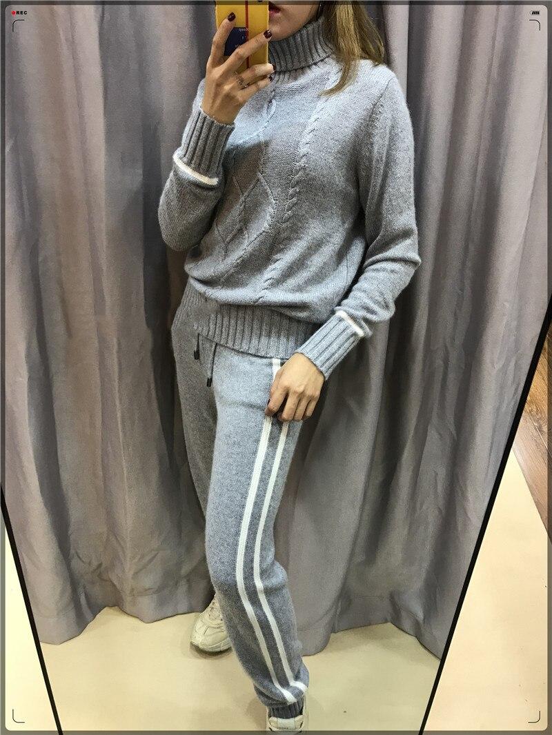 De Réel D'hiver Chaud Mode Couleur En gris Pantalon Cachemire Pleine Nouvelle pièce 2018 Correspondant Kaki Casual Pull Deux Laine Tricoté Costume Femmes UadUHq