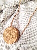 2018 women Rattan Handmade Bag New Medium Rectangle Ata Grass Crossbody Bali Boho Basket