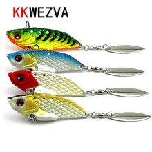 Купить с кэшбэком Attractive 4pcs 20g 6cm winter fishing lure hard bait VIB with lead inside ice sea fishing tackle diving swivel jig wobbler lure