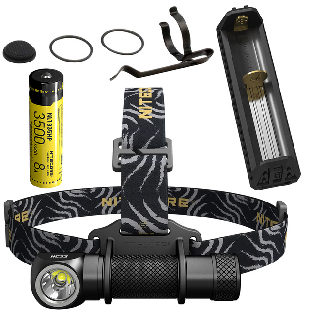 NITECORE HC33 1800Lumens Headlamp + F1 Power Bank Charger + 18650 Battery Headlight Waterproof Flashlight Outdoor Camping Search