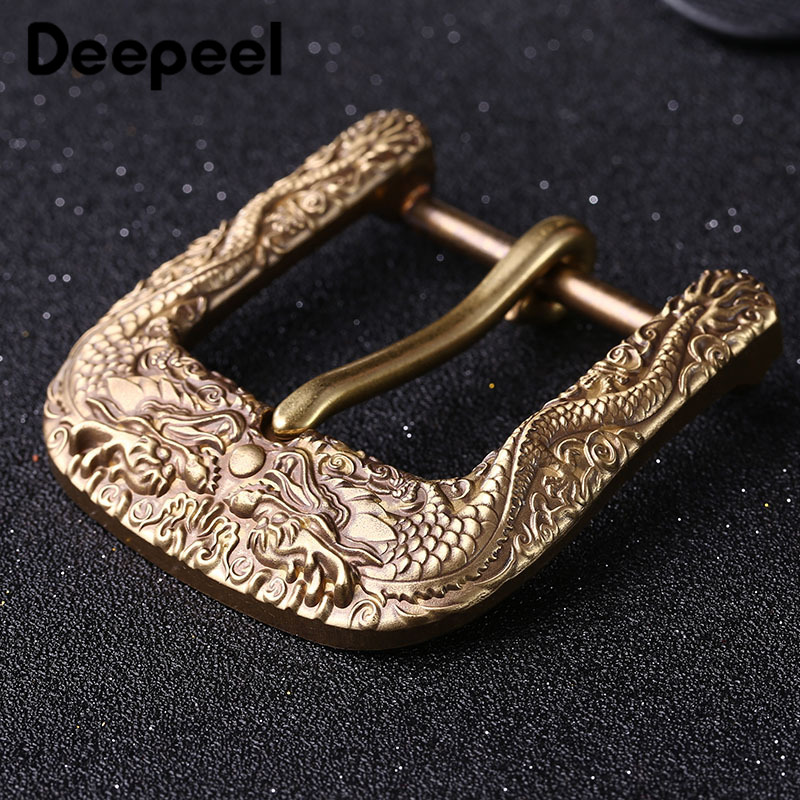 Deepeel 1pc 40mm Pure Copper Brass Belt Buckle Men's Pin Buckles Belt Head DIY Leather Craft Jeans Decoration Accessories YK008