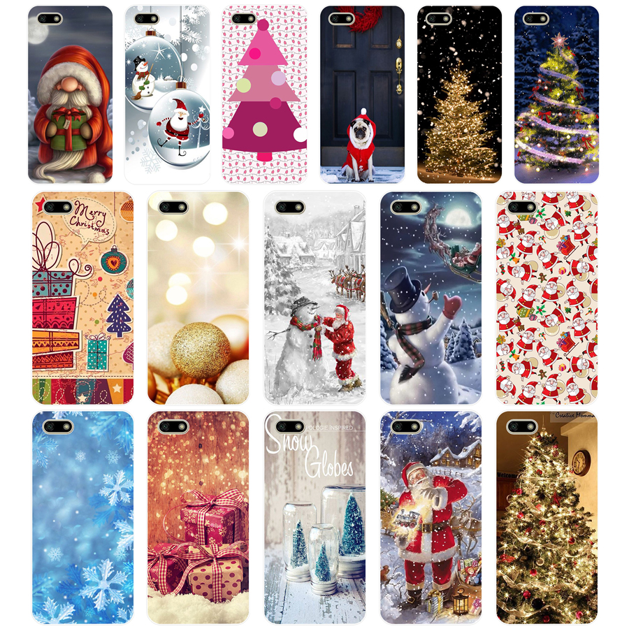 happy New Year merry Christmas Tree TPU Soft <font><b>Silicone</b></font> <font><b>Case</b></font> For <font><b>Huawei</b></font> <font><b>Honor</b></font> 7C 7a 5.7 inch <font><b>7x</b></font> 8x 7a 5.45 Y5 2018 Russian Cover image