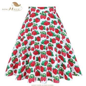 SISHION New Flower Floral Skirt Lemon Cherry Palm Rose Print Casual Fashion Short Women Vintage Skirts High Waist VD0561F Юбка