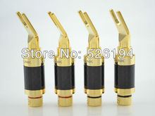 4 pieces ACROLINK CF-201(G) Gold plated Spade Plug Carbon Fiber Speaker 9mm Cable Connector