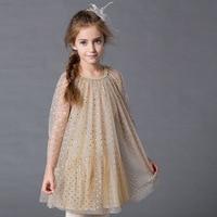 2017 new organza dzieci dress for girls piękna sukienka ciemny gaza dziecko odzież europa style na lato i jesień niebieski/beżowy