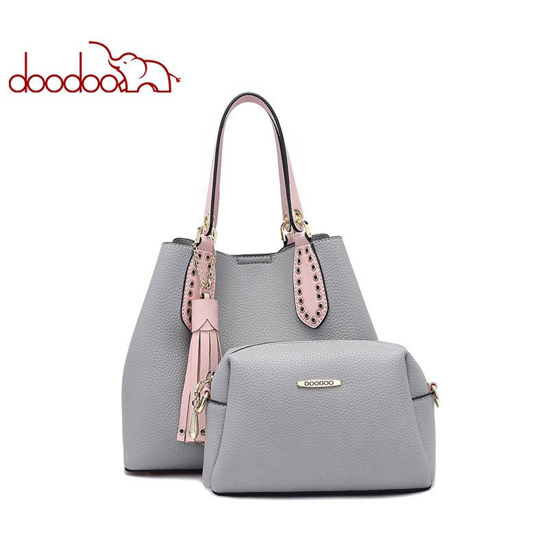 цены DOODOO Women Handbag Tote Bucket Bag Female Shoulder Crossbody Bags Ladies Pu Leather Tassel Color matching 2018 Top-handle Bag