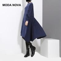 MODA NOVA Designer Causal Dress Women Plus Size Long Sleeve Knitting Patchwork Pleated Midi Dress 2019 Autumn Winter Clothes