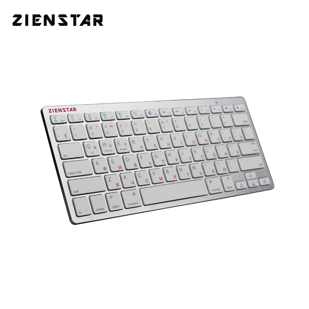 Zienstar Ultra Slim Russian Wireless Bluetooth Keyboard for IPAD ,MACBOOK,LAPTOP,TV BOX Computer PC and Tablet ,Silver White