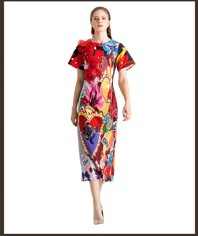 New arrival women elegant dress 2019 spring summer runways flower applique print party D913