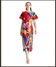 New arrival women elegant dress 2019 spring summer runways flower applique print party D913