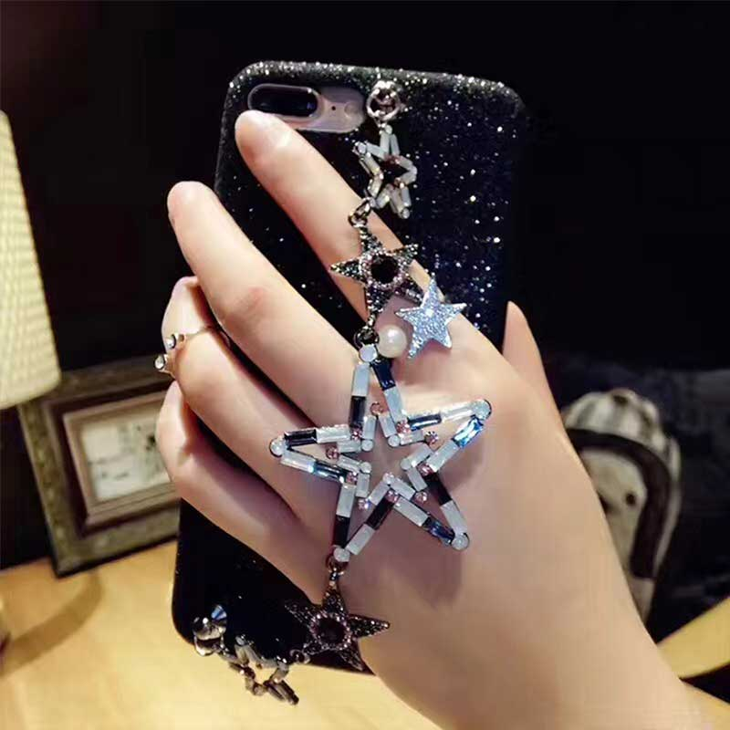 Luxury Fashion Bling Star Diamond Tassel <font><b>Bracelet</b></font> Diamond <font><b>Phone</b></font> <font><b>Case</b></font> Cover For iPhone 7 7 Plus 6 6S 6 Plus Back Cover <font><b>Case</b></font>