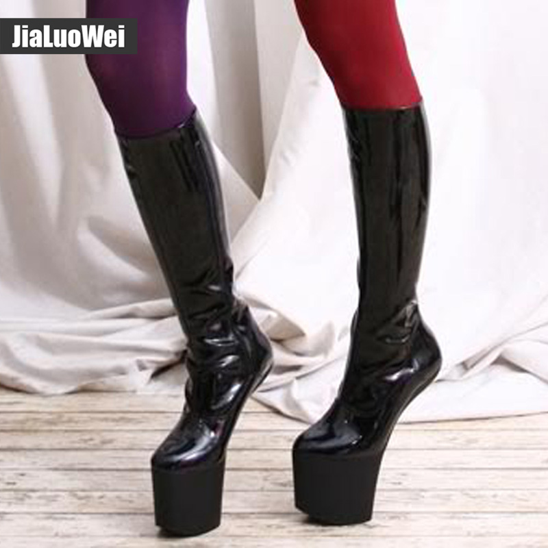 Jialuowei New Design Sexy High-Heels Shoes Knee-High Boots Fashion Women Round Toe Platform Patent Leather boots  Big size