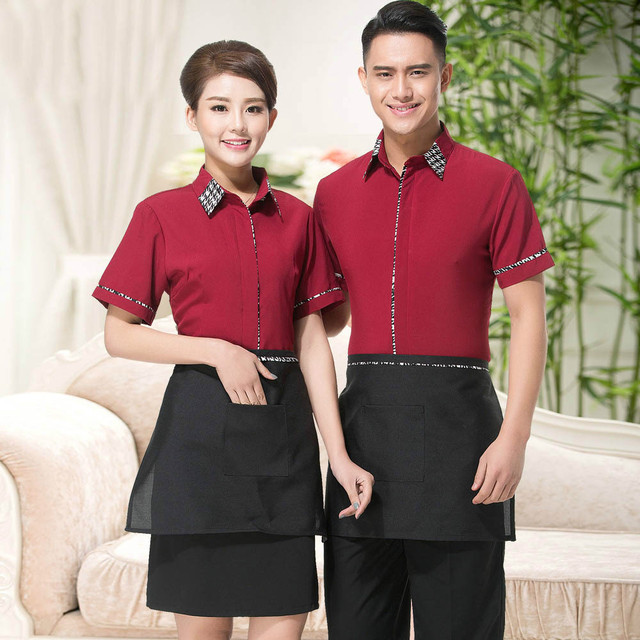 Red And Black Restaurant Uniform Restaurant Waiter Uniform
