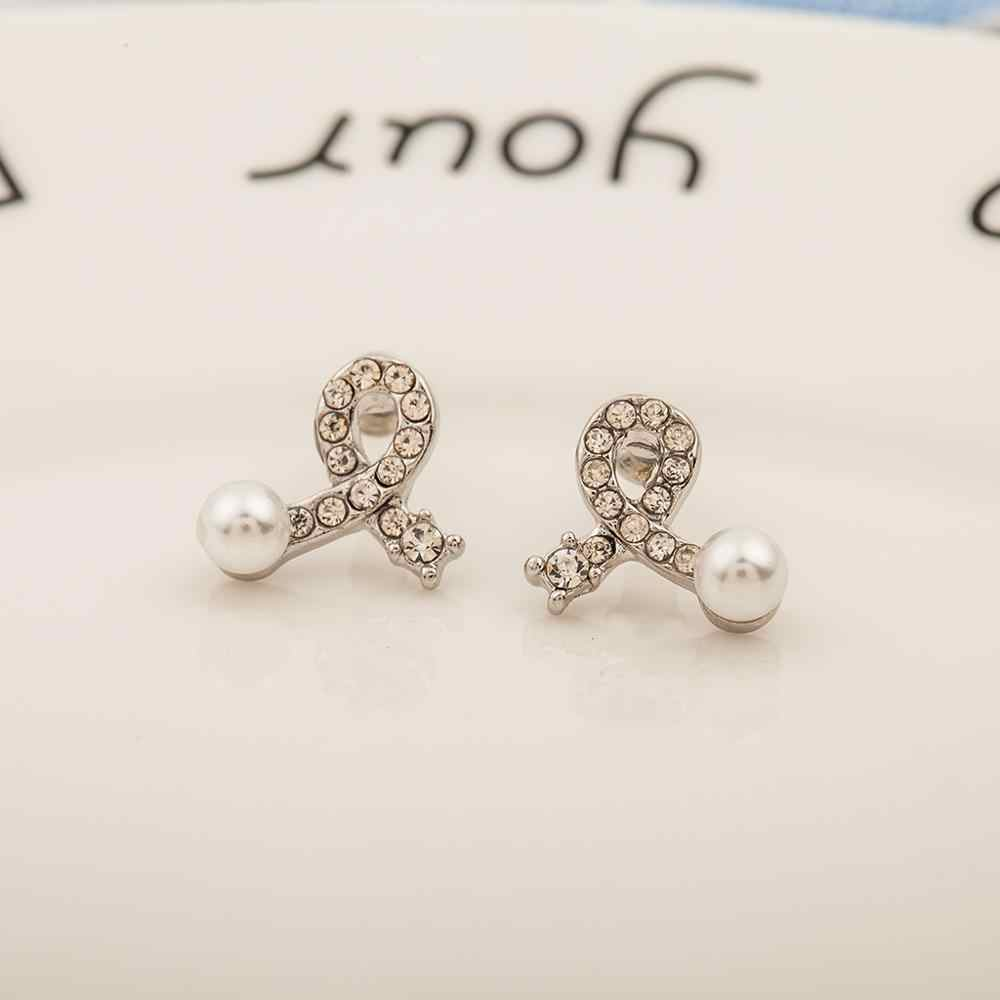 New Fashion Hot Lovely Wedding Ear Cuff  Round Imitation Pearl Beads Stud Earrings for Women Girls Piercing Jewelry