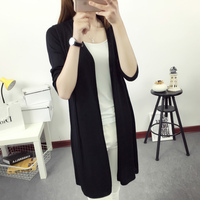 Casual Long Summer Cardigan Female Loose Thin Coat 2018 V Neck Women's Clothing Three Quarter Sleeve Cardigan Beach High Quality
