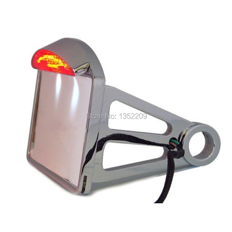 1pcs chrome side mount license plate frame bracket led tail brake light for harley custom aluminum