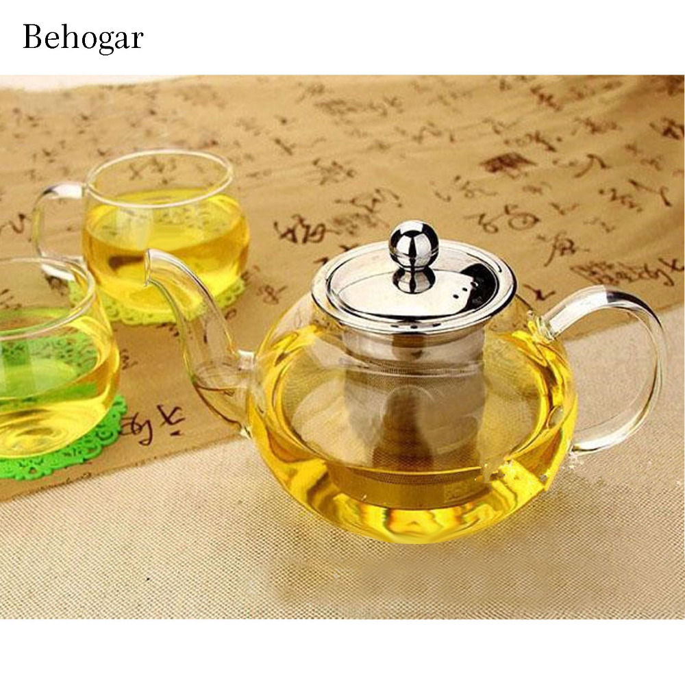 Behogar 600/800/1000ml Glass Teapot High Temperature Resistant Loose Leaf Flower Tea Pot W/Stainless Steel Infuser Strainer Lid