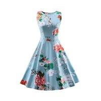 Jurken Women Dress Blue Spring Summer Audrey Hepburn 50s 60s Vintage Dresses Vestidos Plus Size Rockabilly