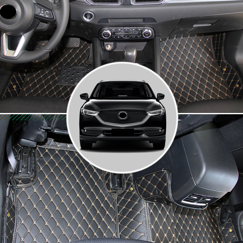 1 set Leather Car Interior Foot Mat Car Leather Carpet For Mazda CX-5 2nd Gen 2017 2018 Car styling for mazda cx 5 cx5 2017 2018 2nd gen lhd auto at gear panel stainless steel decoration car covers car stickers car styling