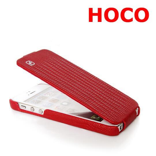 imágenes para HOCO Marca Para iphone5 5S Teléfono de Negocios de Cuero Genuino de la Vaca Real case para iphone 5 se vertical flip cover 6 colores lagarto grano