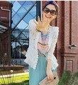 Plus Size S-XXL queda 2016 New Skinny Shoulder Pad precioso Lace Mosaic camisa Cardigan protetor solar camisa do ar - condicionado