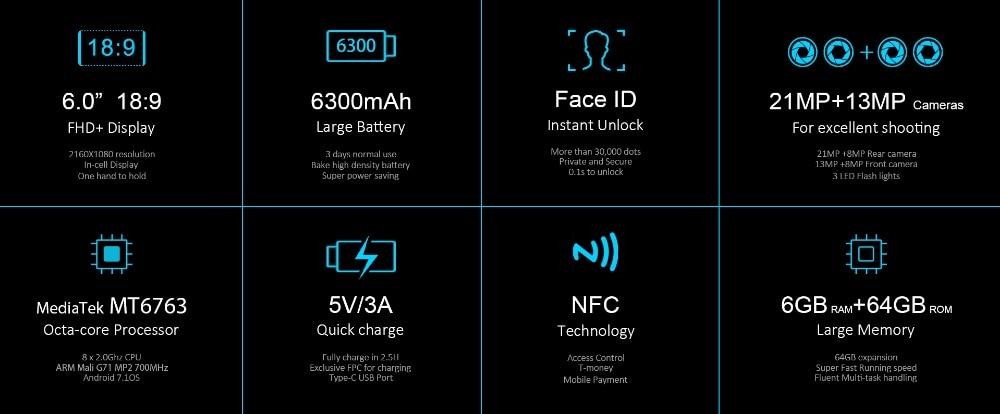 "HTB1uLXUh26H8KJjy0Fjq6yXepXat - Original Oukitel K6 Face ID Smartphone 6300mAh 6.0"" 18:9 FHD+ MTK6763 6GB RAM 64GB ROM 5V/3A Quick Charge 4 Cameras Mobile Phone"