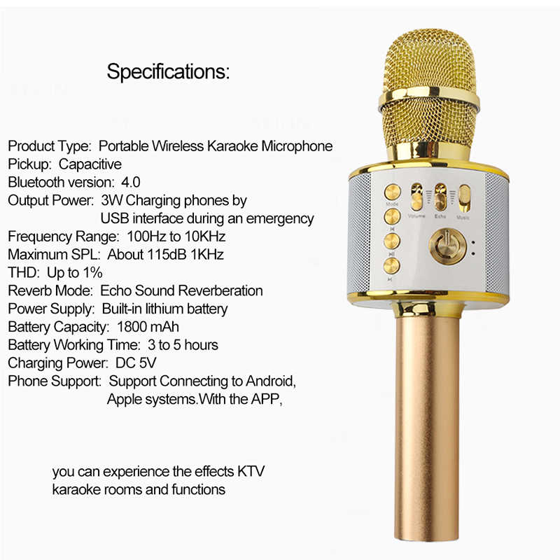 Wireless Karaoke Microphone Magic Echo Voice Changer Speakers Mikrofon  Condenser Professional for Mobiles Studio Video Recording