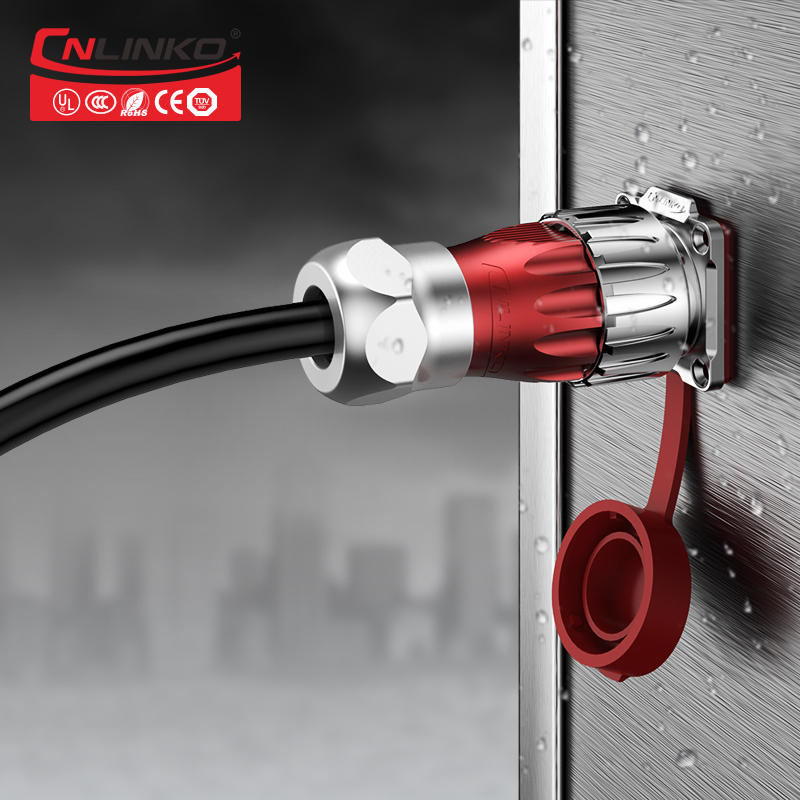 CNLINKO metal shell sliding preventing design M24 3 pin waterproof power connector for LED equipment