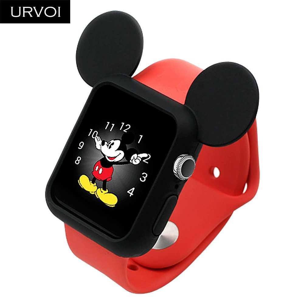 URVOI мультфильм чехол для apple протектор для часов серии 4 3 2 ремешок Силиконовый протектор для iWatch Крышка для Микки дизайн 40 44 мм