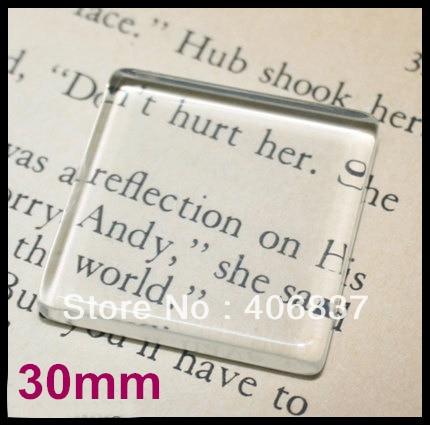 50pcs/lot, Good Quality 30mm Flat <font><b>Square</b></font> Transparent Clear Magnifying Glass Cabochon