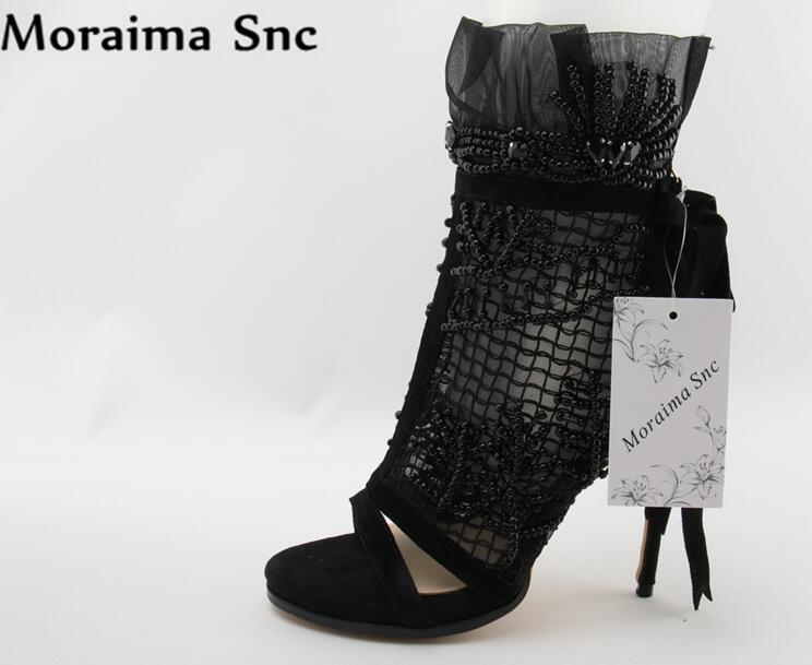 Moraima Snc Luxury women boots peep toe String Bead Decoration fretwork Stilettos heel zipper Ankle  butterfly-knot strap black