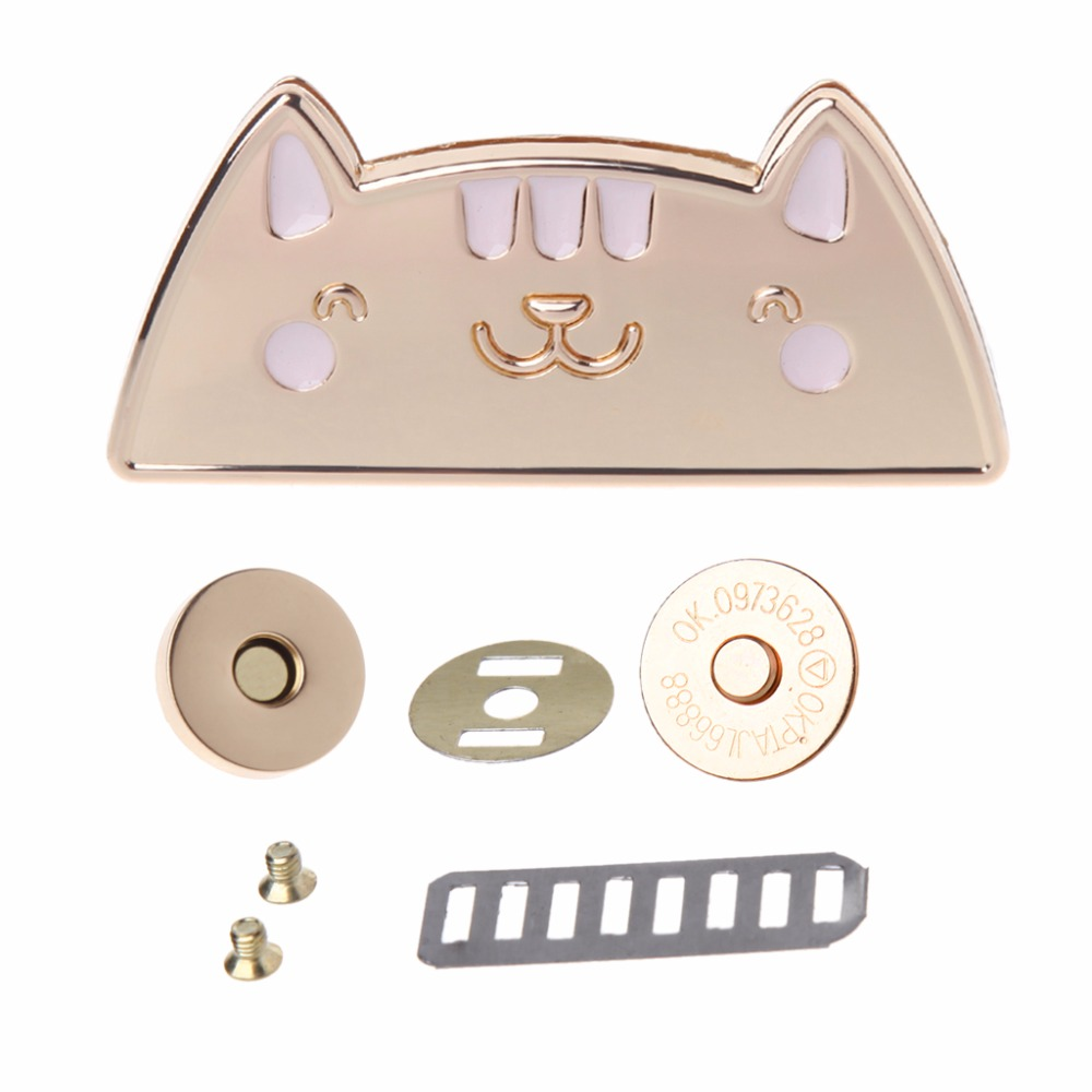 THINKTHENDO Cute Cat Magnetic Clasp Fastener Snap Button Press Studs Purse Bag Closure DIY Bag Buckles