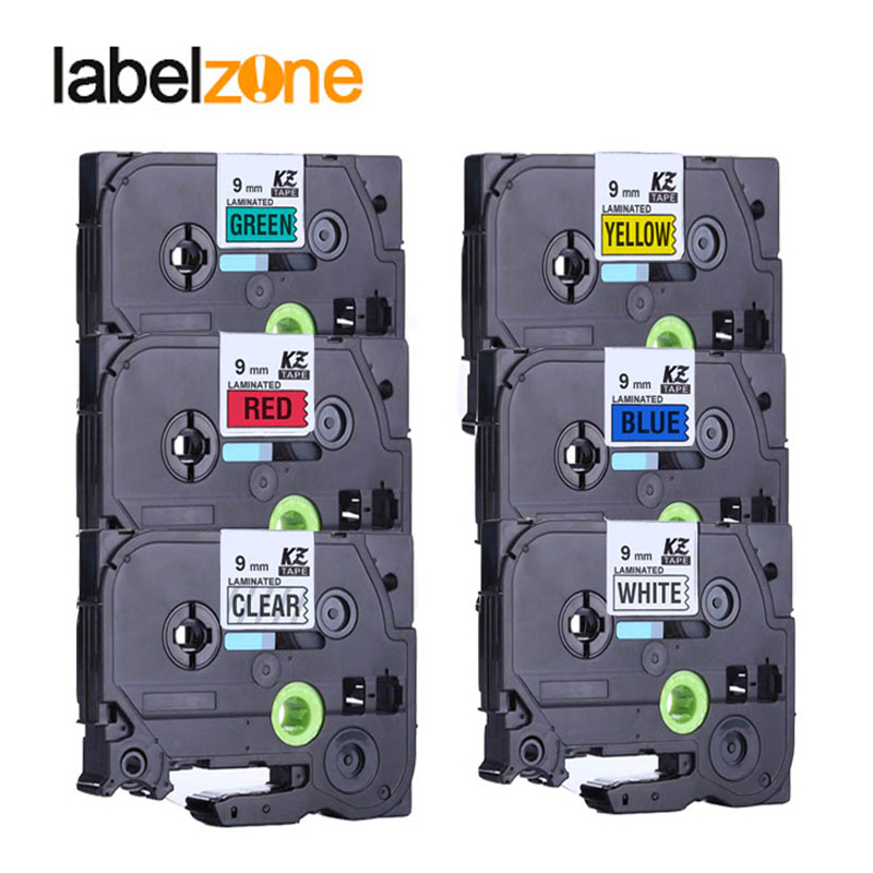 Mixed colors Tze121 Tze-221 Label Maker Tape 9mm Compatible for Brother p-touch Tze PT Labeler Tz421 Tz 521 Tz-621 Tze721 brother tz 221 page 1